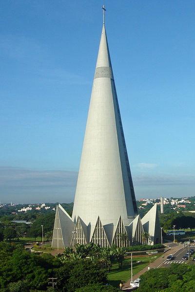 Cathedral of Maringá  is a perfect example for the conic shape of a building in Sagittarius         photo: Mariordo, ccbysa3.0