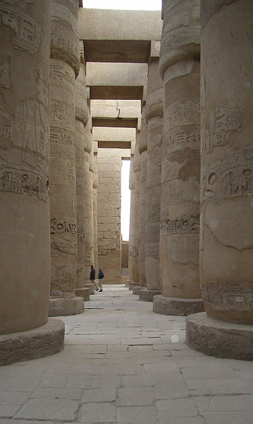 The giant columns in the great hypostyle hall in the Precinct of Amun Re in Taurus with Capricorn