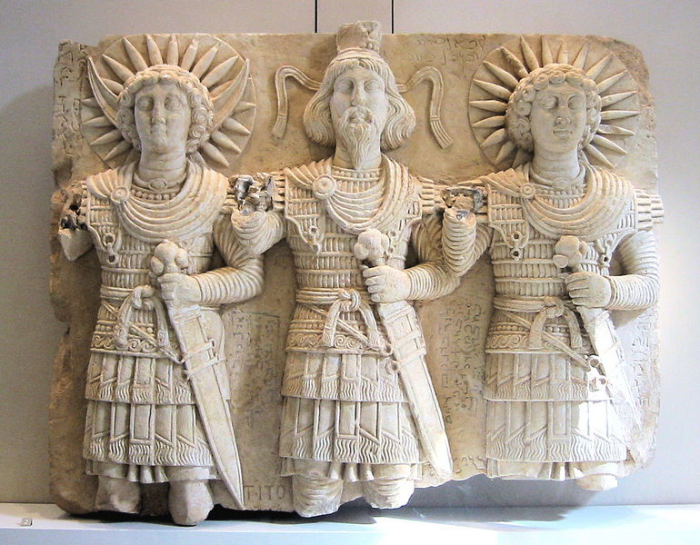 Palmyrene deities: from left to right: the lunar god Aglibôl, the supreme god Beelshamên, the sun god Malakbêl, 1st century CE, found near Bir Wereb, Wadi Miyah, Syria, Louvre Museum. license: GNU/FDL, wikimedia