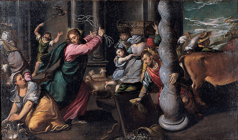 """""""Driving of the merchants from the temple"""" by Scarsellino Created: (1580 - 1585)"""