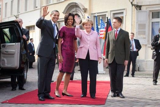 Angela Merkel with the Obamas, pd usgov