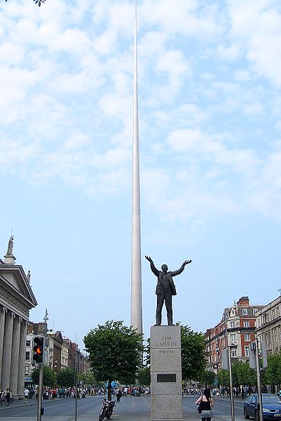 Dublin Spire with Jim Larkin statue in front Photo: Vmenkov license: GNU/FDL