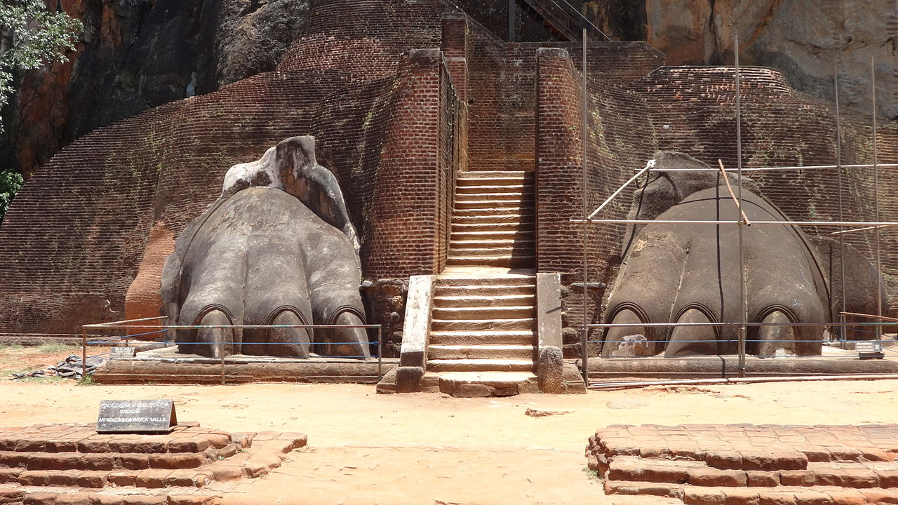 Lion`s Gate at Sigiriya the fortress of the demon king Ravana wirh both coordinates in scorpio the sign of demons, photo: Schmettau, license: ccbysa3.0