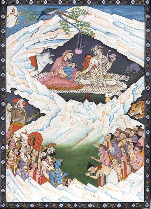An illustration of the Hindu significance of Mount Kailash, depicting the holy family of Shiva, consisting of Shiva, Parvati, Ganesha and Kartikeya (Muruga)