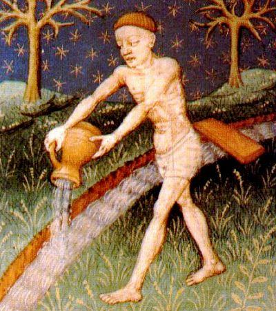 Medieval image of Aquarius