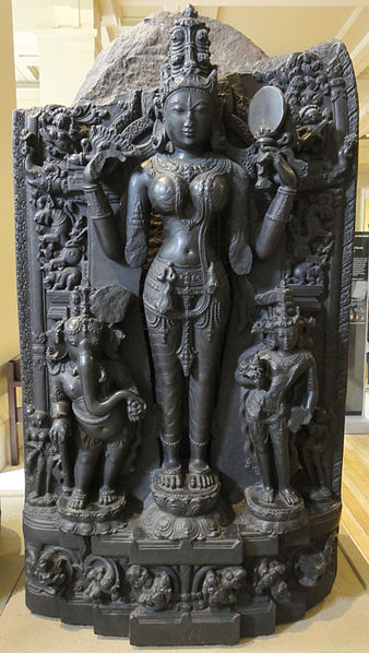 Parvati as four-armed Lalita, 11th century sculpture, British Museum  photo:  Fæ, ccbysa3.0