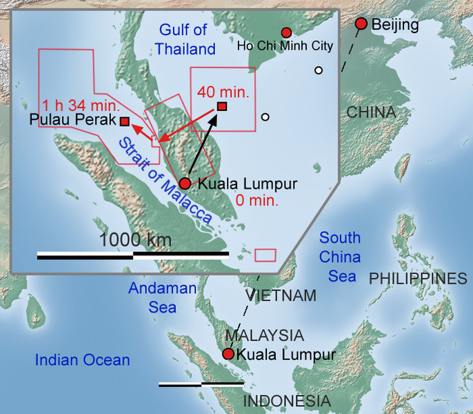 Malaysian Airline MH370 flight map image by: Soerfm, license: ccbysa3.0