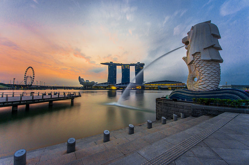 The Merlion located in position of a guardian in the first degrees of Capricorn and in Aries photo: fad3away, ccbysa2.0