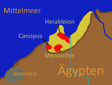 ap of Nile Delta showing ancient Canopus, Heracleion, and Menouthis