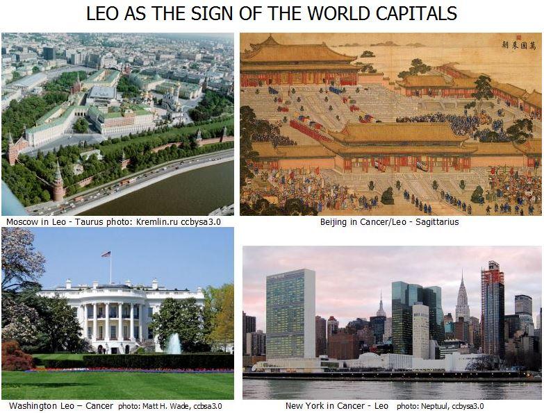 Moscow in Leo - Taurus photo: Kremlin.ru ccbysa3.0                                  Beijing in Cancer/Leo - Sagittarius    Washington Leo – Cancer  photo: Matt H. Wade, ccbsa3.0                      New York in Cancer - Leo   photo: Neptuul, ccbysa3.0