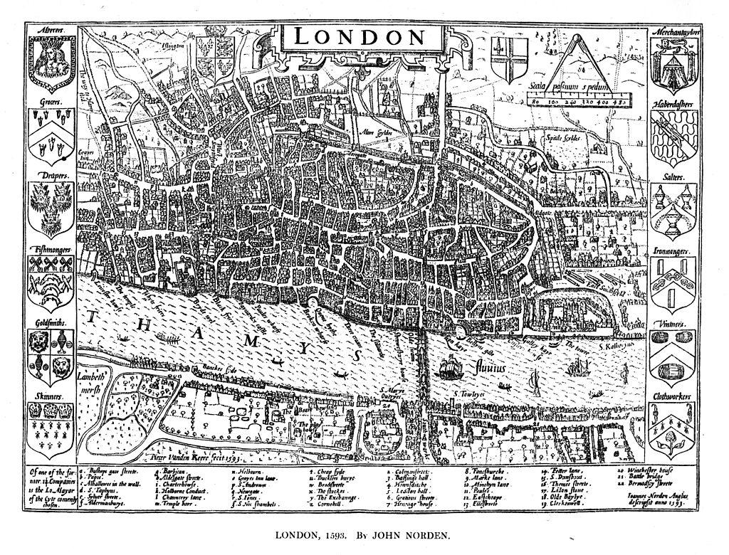 John Norden's Map of London, 1593,