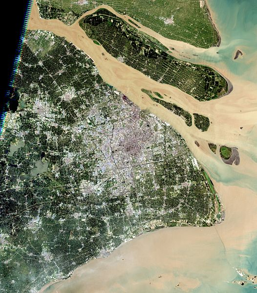natural-color satellite image shows the urban area of Shanghai in 2005, along with its major islands