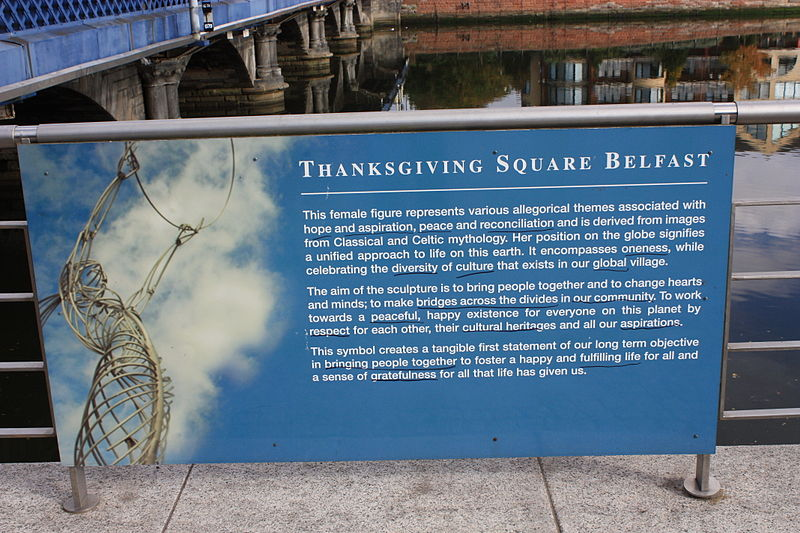 """Information board at the """"Beacon of Hope"""" by Andy Scott, Thanksgiving Square, Lanyon Place, Belfast, Northern Ireland, October 2009 photo:Ardfern, ccbysa3.0"""