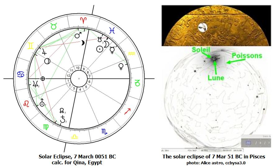 """Astrological Chart for """"Dendera Solar Eclipse"""" of 7 March 51 calculated for Qina, Egypt."""