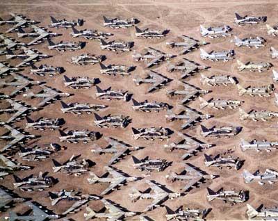 Davis–Monthan Air Force Base. Boeing B-52s in storage or awaiting dismantlement in Arizona
