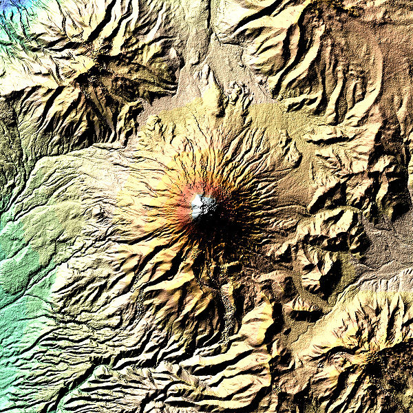 Cotopaxi Volcano in Ecuador. The volcano has an inner crater inside the outer crater. Colors show elevations. Nasa Image