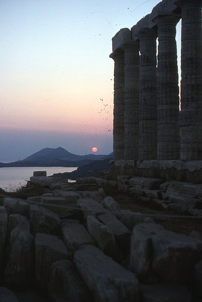 Temple of Poseidon (Neptune) at Sounion located in Aquarius with Sagittarius photo: AntonyB, ccbysa4.0