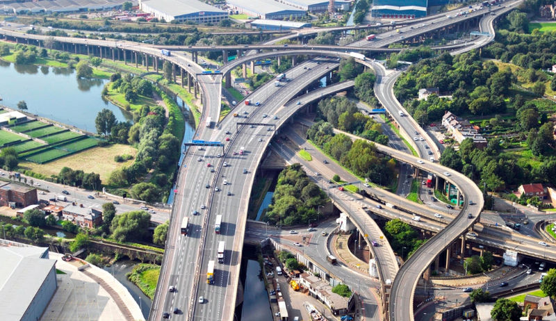 """Gravelly Hill Interchange in Birmingham, England was built in the """"constellation of mutation"""" of Aries with Aquarius photo: Highways Agency, ccbysa2.0"""