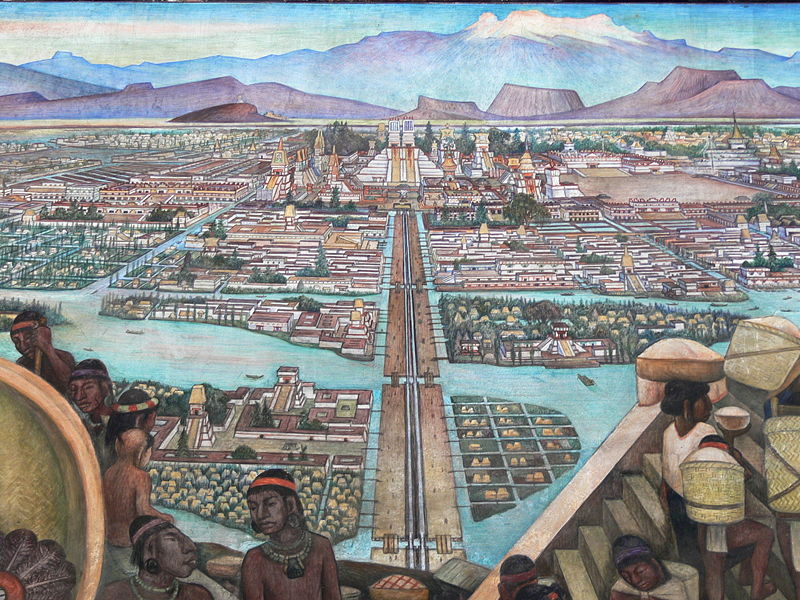 Mexico City - Palacio Nacional. Mural by Diego Rivera showing the life in Aztec times image: COM:FOP#Mexico, GNU/FDL