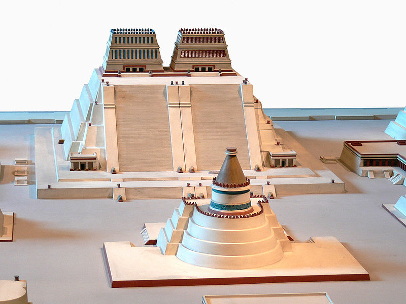 Reconstruction of the Templo Mayor of Tenochtitlanlocated in the first degrees of gemini and the first degrees og Virgo image: Wolfgang Sauber modif. : Joyborg, GNU/FDL