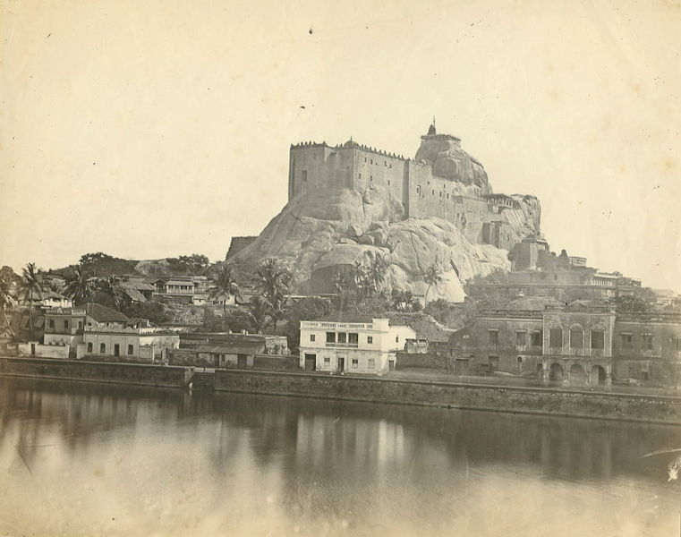 Rockfort Ucchi Pillayar Temple, Trichy in the 1860s another typical example for a rock fortress in Scorpio with Aries
