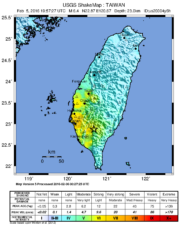 2016 Kaohsiung earthquake shakemap image: United States Geological Survey