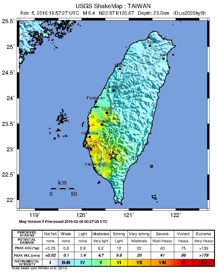 2016 Kaohsiung earthquake shakemap image: United States Geological Survey