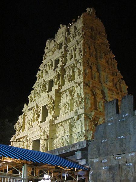 Srisailam Gopuram near the Malikarjuna Swami Jyotirlinga at Srisailam. photo: Vedamurthy.j, ccbysa3.0