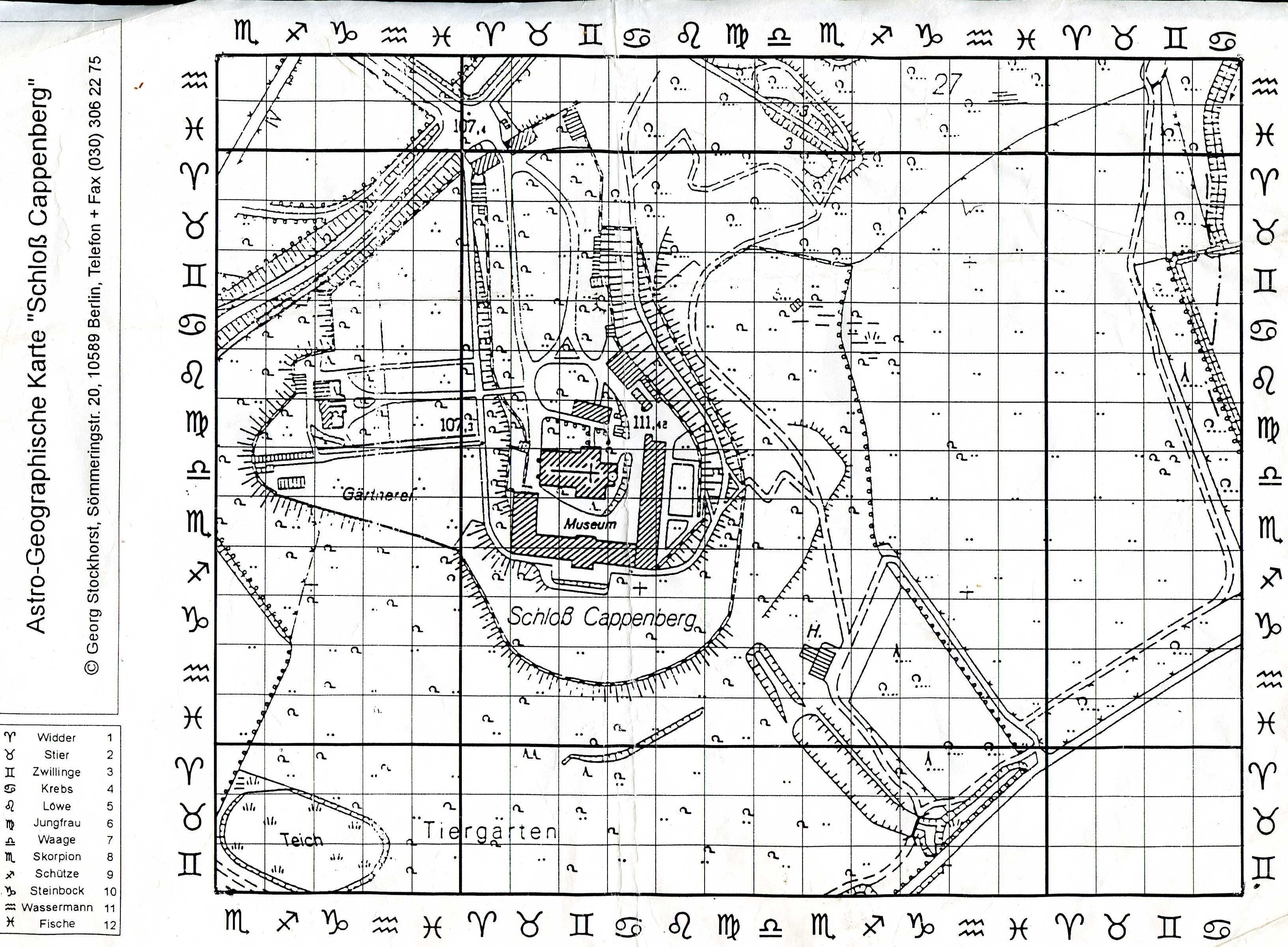 Astrologisch - Geomantisches Gitternetz mit 30m x 30m Quadranten. Kartierung von Schloss Cappenberg - Auftragskartierung für das Institut für Resonanztherapie Cappenberg, 1997. Copyright: Georg Stockhorst