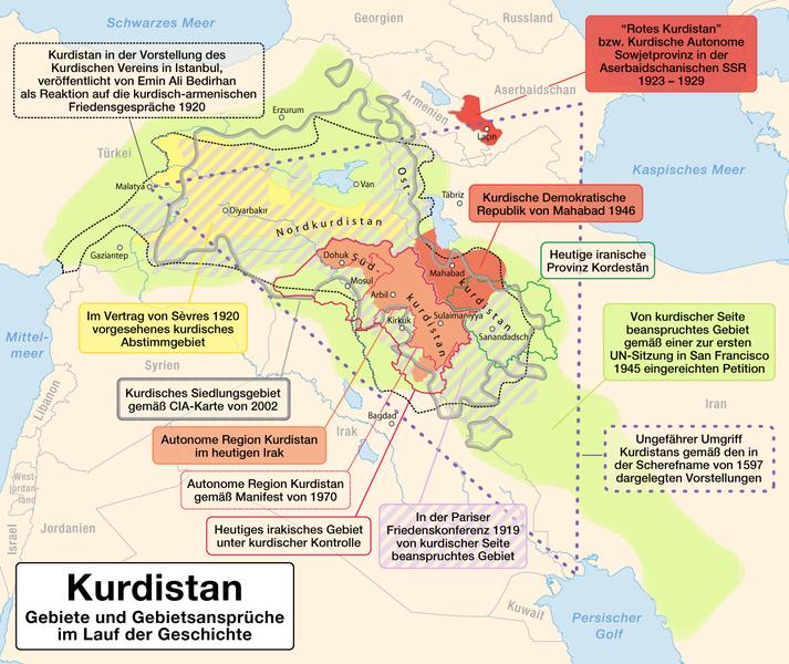 Kurdish inhabited areas, political enclaves and territorial demands image: Maximilian Dörrbecker (Chumwa)
