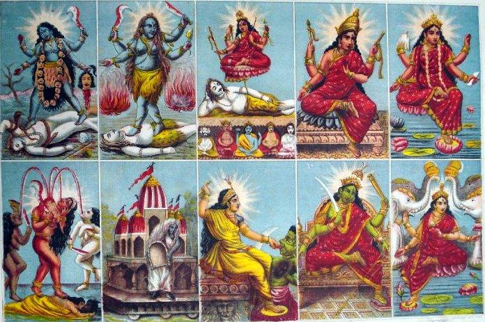 The 10 Mahavidyas Kali, Tara, Shodashi, Bhuvaneshvari, Bhairavi, Chhinnamasta, Dhumavati, Bagalamukhi, Matangi, and Kamala