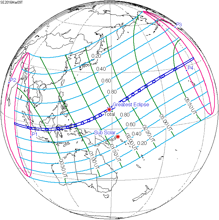 Solar eclipse map of path on earth Eclipse Predictions by Fred Espenak, NASA's GSFC