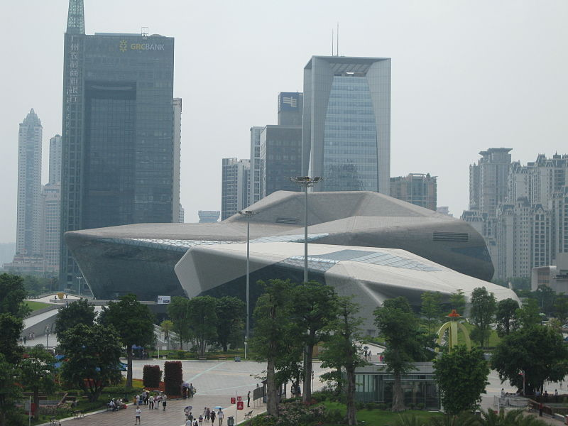 Overview of the 2 buildings of Guangzhou Opera House, with the smaller white building in the front. photo: 圍棋一級,, ccbysa3.0