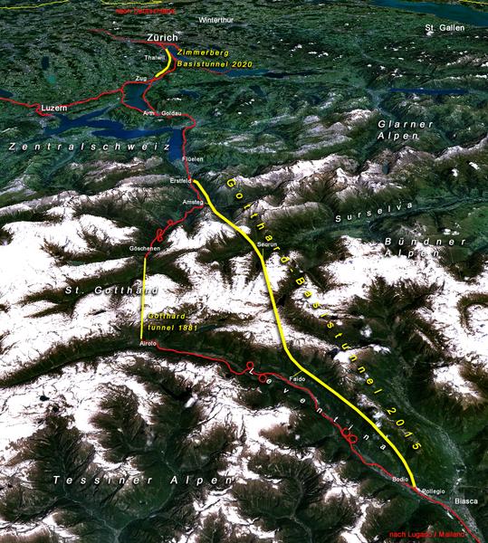 Gotthardachse der Neuen Eisenbahn-Alpentransversale NEAT in der Schweiz