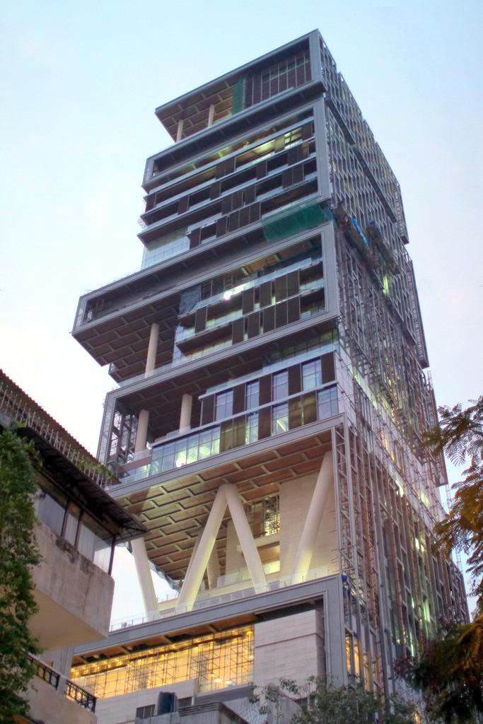 "Mukesh Ambani's house ""Antilia"" in Mumbai located in Virgo with Aquarius photo: Jhariani , GNU/FDL"