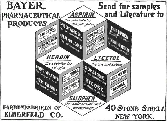 Bayer Produkte im Jahr 1911: Aspirin. Heroin & Co.