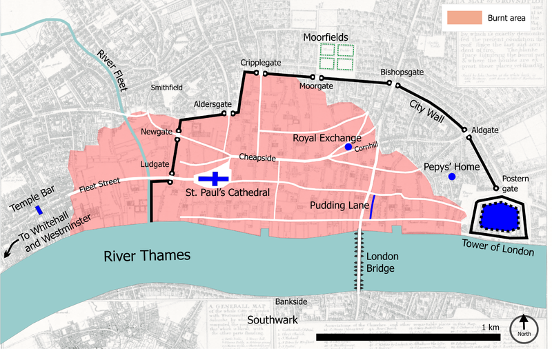 Central London in 1666, with the burnt area shown in pink. photo: Bunchofgrapes, GNU/FDL