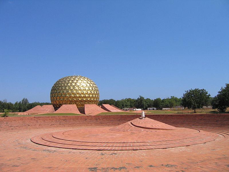 Matri Mandir in Auroville located in Sagittarius with Taurus photo: Geoffrey Gardella, GNU/FDL