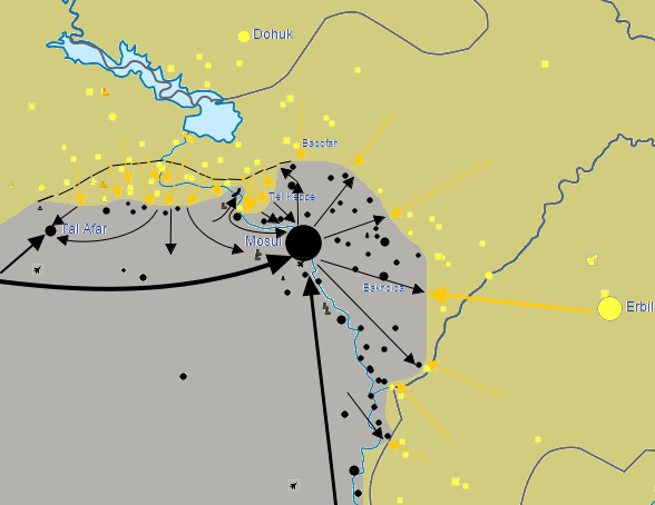 Map of the Mosul offensive (2015), which was launched by Kurdish Peshmerga forces on January 20, 2015, besieging the city of Mosul from the northwest, northeast, and southeast. Peshmerga forces also cut the critical ISIL supply route from Ar-Raqqah to Mosul to the north of Tel Afar, seizing multiple villages in the region as well. 5,000 Peshmerga fighters also opened up another front to the northwest of Mosul, pushing towards the city, before stopping 6 miles short of the city limits on February 10. The offensive was heavily supported by the US-led Coalition. The offensive was the preparatory phase of the planned offensive to retake Mosul, in which Kurdish forces would cut off ISIL supply routes to the north and the west of Mosul, and hold the positions to prevent ISIL troop movement while Iraqi forces move in from the south. By the end of this offensive, at least 2,000 ISIL militants had been killed (both from Peshmerga attacks and intensive Coalition airstrikes). image & text: BlueHypercane761, ccbysa4.0