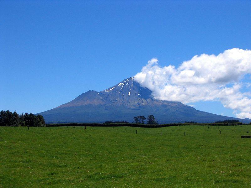 Mt Taranaki with the smaller peak on the left photo: Robin van Mourik