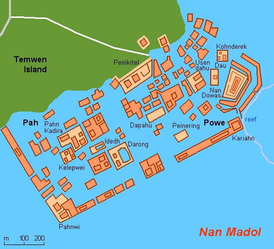 Map of Nan Madol Federated States of Micronesia