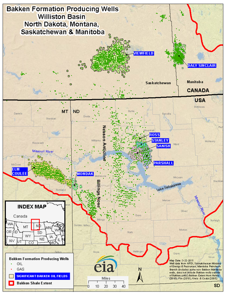 Oil wells producing from the Bakken Formation, US and Canada