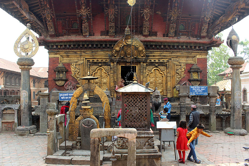 Changu Narayan Temple, entrance at the west side located in Aries with Sagittarius photo: Maesi64