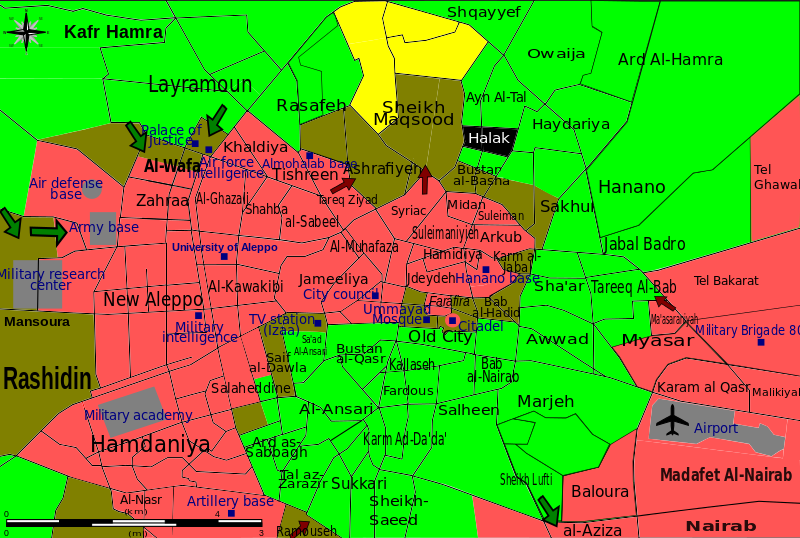 Situation in the city during the battle of Aleppo. Black: ISIL forces Green: Opposition forces Yellow: Kurdish forces Red: Syrian government Olive: Contested/unclear Black words: districts Blue squares and words: notable places source: wikimedia article