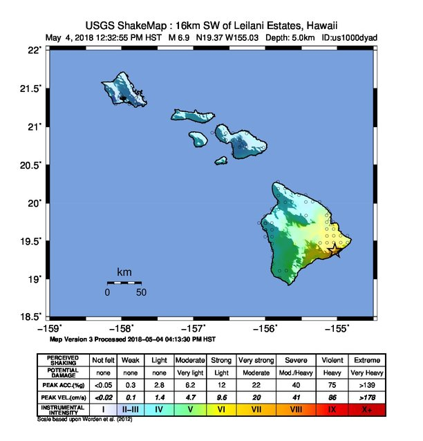 Astrogeographical data for the 2018 earthquake at Mt. Kilauea