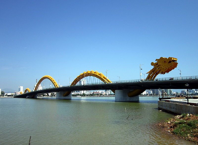 Dragon bridge and Golden bridge at Da Nang
