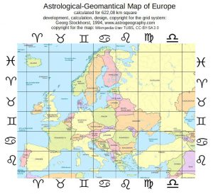 Astrological Map of Europe, Astrology and Horoscope of Europe