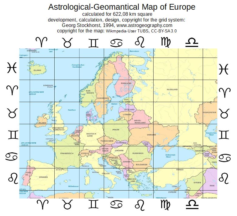 Astrological map of Europe