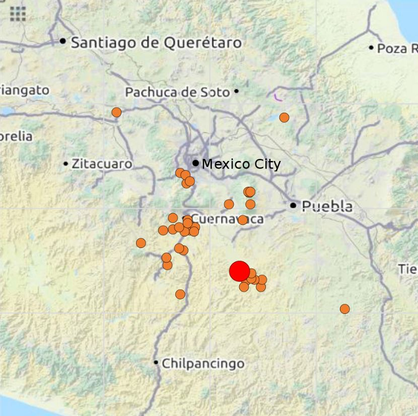 The 2017 Puebla earthquake in astrogeography