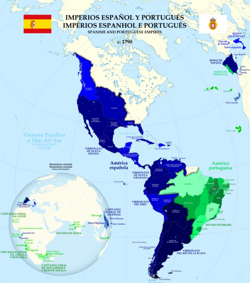Spanish and Portuguese Empires by 1790